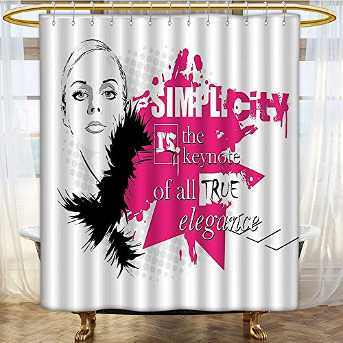 Shower Curtains with Shower Hooks Lady Face with Makeup Simplicity for Elegance Vogue Theme Black Pink Fabric Bathroom Set with Hooks W108 x H72 inch ()