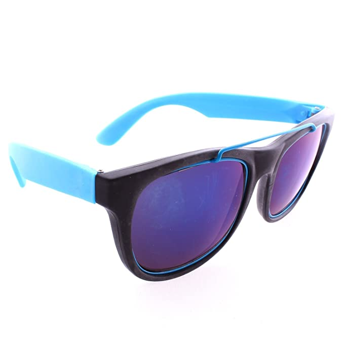 557255c058 Amazon.com  Retro Wayfarer Neon Rubber Outline Sunglasses - Blue ...