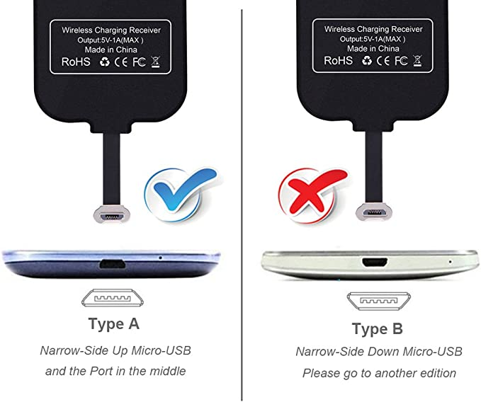 Micro USB de Qi de carga inalámbrica Receptor [Lado estrecho hacia arriba] inalámbrico del cargador módulo para Android Handy Xperia E5, Z5, Samsung