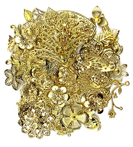 ALL in ONE Mixed Gold Filigree Charm Pendant Jewelry Findings: 50g