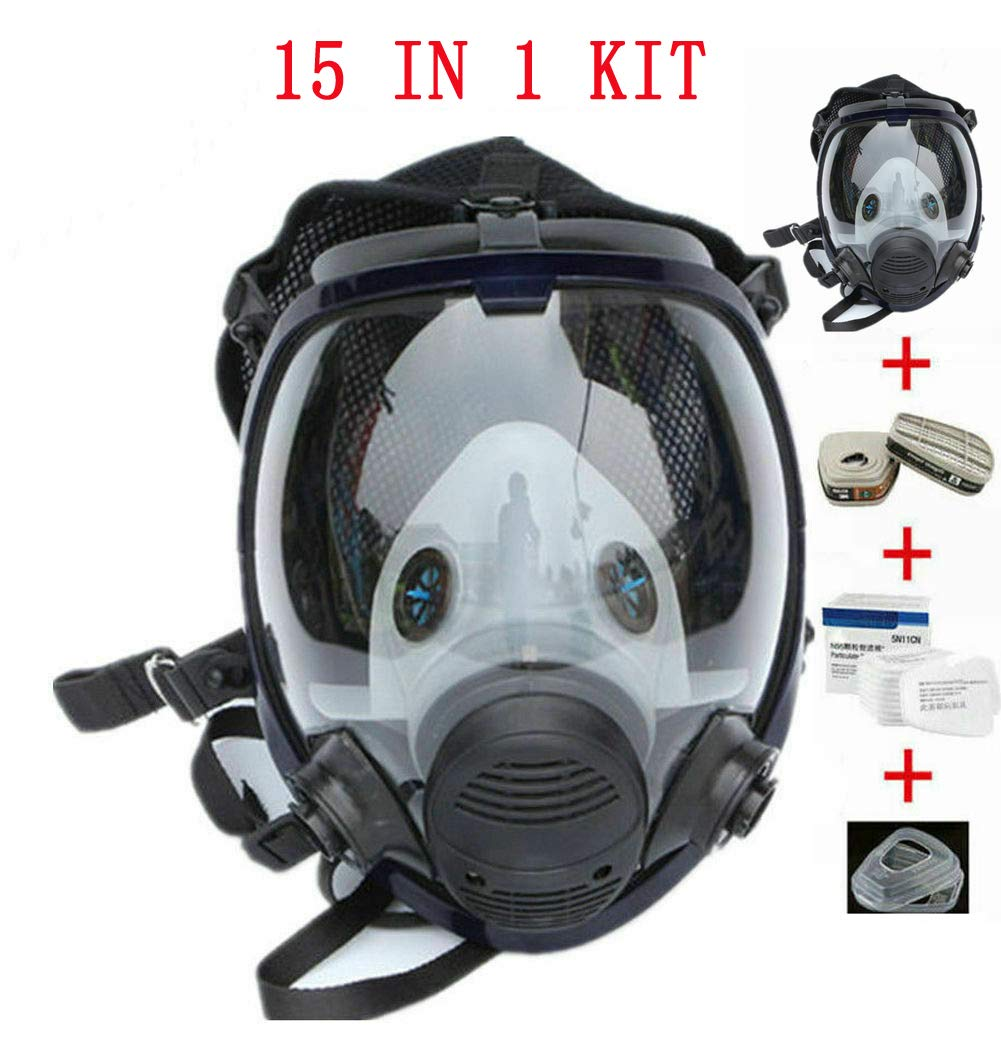 Full Face Gas Mask Painting Spraying Respirator For Facepiece Kit (15 in 1)