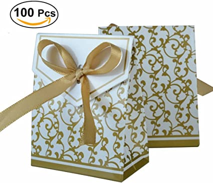 Ueetek 100pcs Gold Ribbon Wedding Favor Boxes Sweet Cake Gift Candy Boxes Bags Anniversary Party Golden Health Personal Care