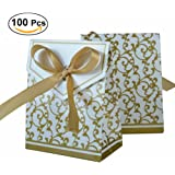 UEETEK 100pcs Gold Ribbon Wedding Favor Boxes Sweet Cake Gift Candy Boxes Bags Anniversary Party (Golden)