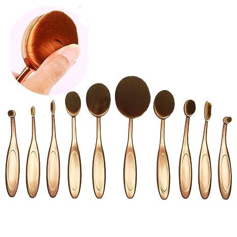 naturebeauty 10 pcs oval cepillo de dientes juego de brochas de maquillaje Fundación contorno de relieve