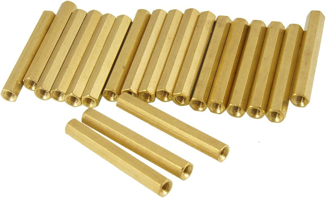 Aexit 20 Pcs Tube Fittings M3X35mm Hex Head Brass Female Thread PCB Microbore Tubing Connectors Standoff Spacers