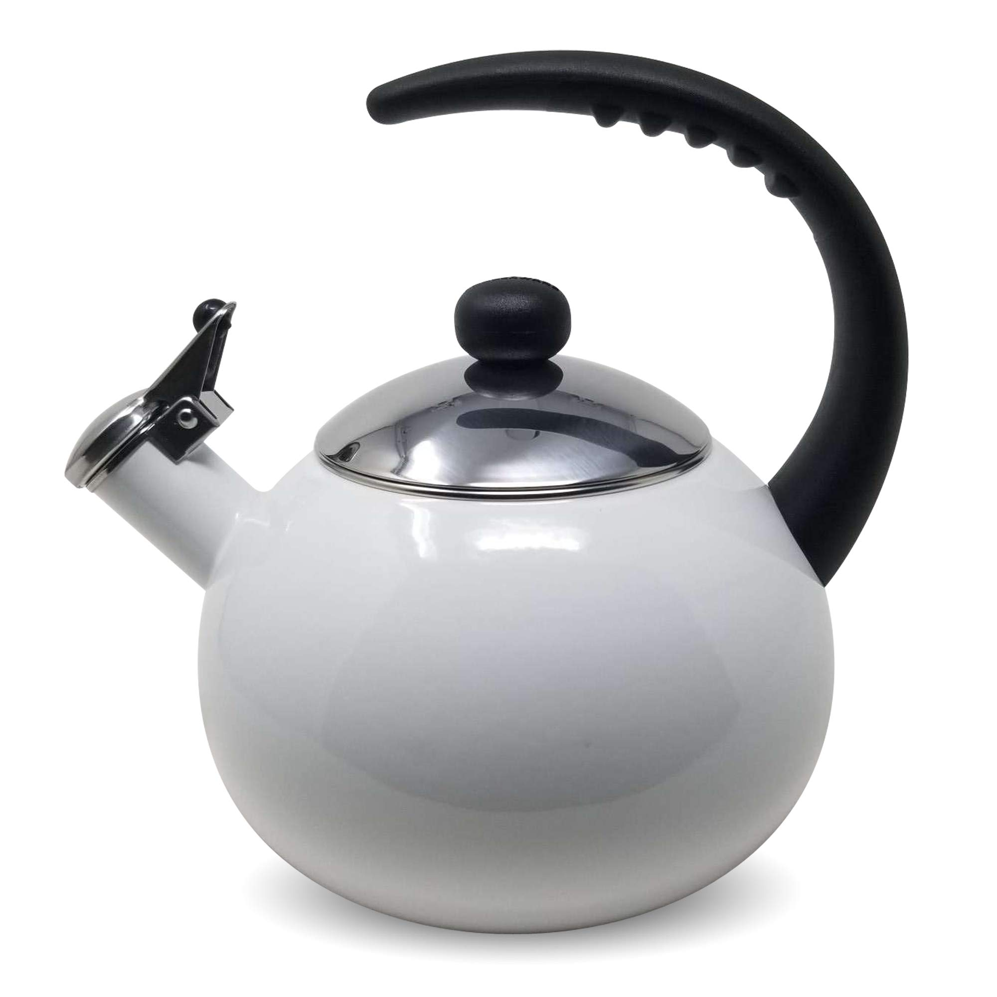 Farberware Luna White Porcelain Enameled Food Grade 18/8 Stainless Steel Soft Whistle Anti- Hot and Anti-Rust TEA KETTLE with Soft Grip Handle Flip Up Spout Heavy Gauge STOVETOP POT 2 QT.