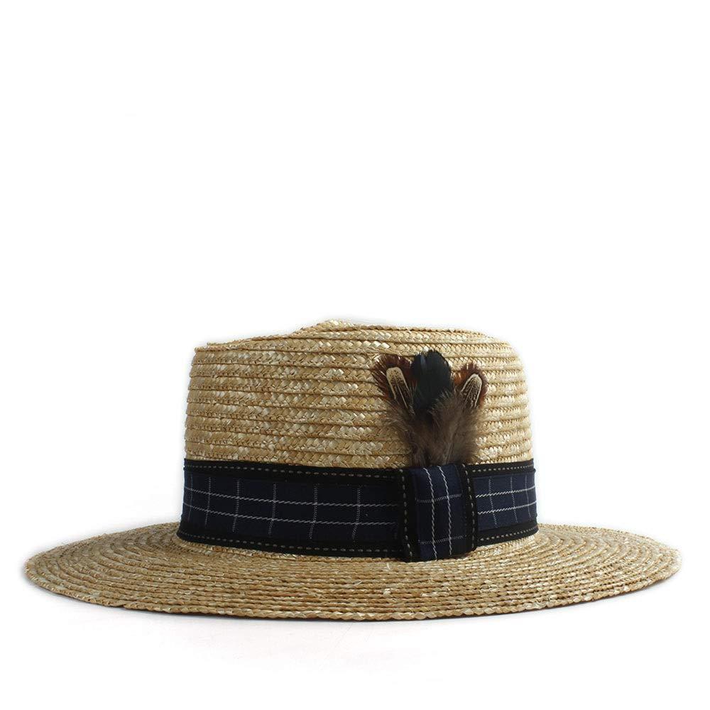 MUMUWU Sun Hat Chaff Women Hat Feather Ornamental Hat Flat Top Wing Hat Fashion Beach Wide-Brimmed Hat Sun Hat (Color : 1, Size : 56-58CM)