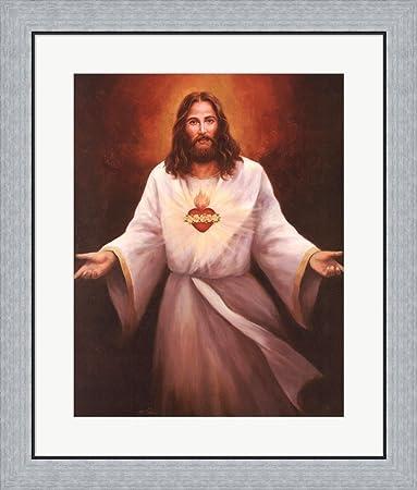 Amazon.com: Jesus\' Sacred Heart by T.C. Chiu Framed Art Print Wall ...