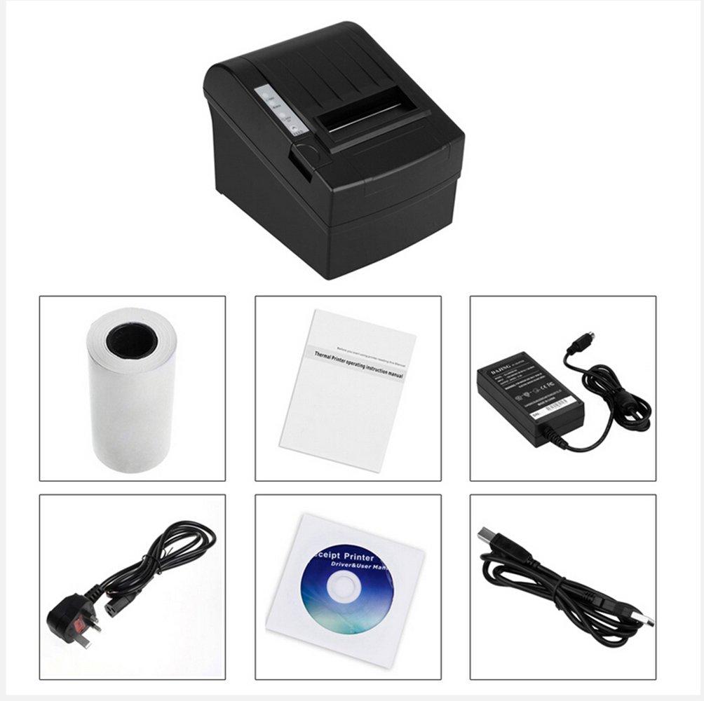 Imprimante Bluetooth Portable, Imprimante Thermique À Grande Vitesse 80Mm WIFI Imprimante Thermique USB Receiver Imprimante POS 80-10 X Papier De Dissipation Thermique