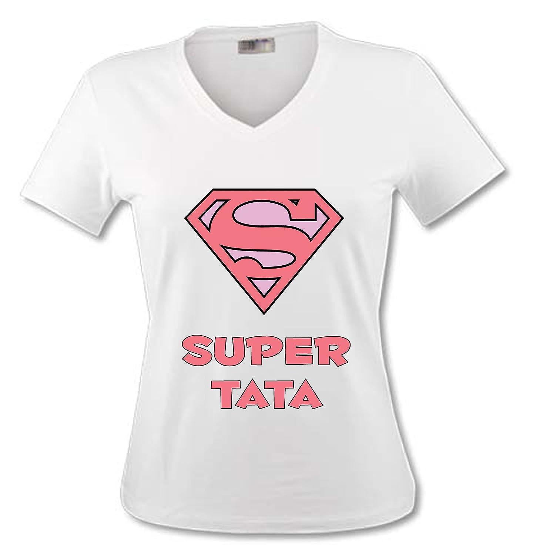 yonacrea T-Shirt Col V Adulte - Superman Rose - Super Tata YONACREA-tsFEM0809