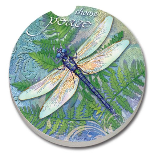 Dragonfly Inspiration, Peace - Single Ceramic Car Coaster