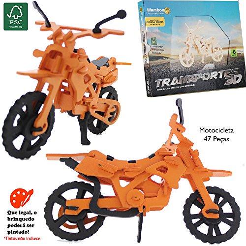 Quebra Cabeça 3d - Transportes - Motocicleta - 47 Pçs - Puzzle Wamboo Brinquedos
