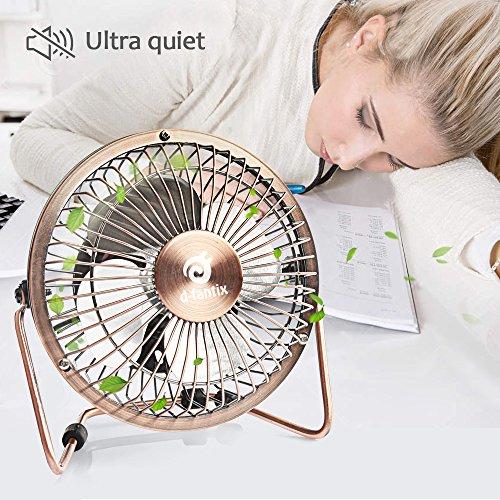 Quiet Table Fans : D fantix mini usb desk fan quiet inch antique metal