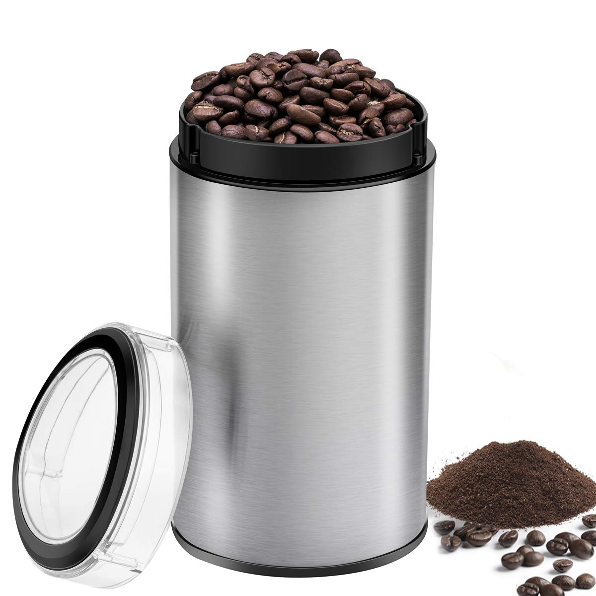 Coffee Mill Grinder 60G, Keemo Coffee Bean Grinder Electric 12 Cup, Fast Fine Home Blade Coffee Grinder Brushed Stainless Steel 150W for Coffee Beans Spices Nuts and Grains