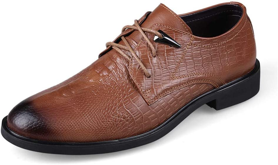 HYF Oxford Shoes Mens Business Oxford Casual Simple Classic Crocodile Round Toe Formal Shoes Dress Shoes Business Shoes for Men Color : Light Brown, Size : 7.5 M US