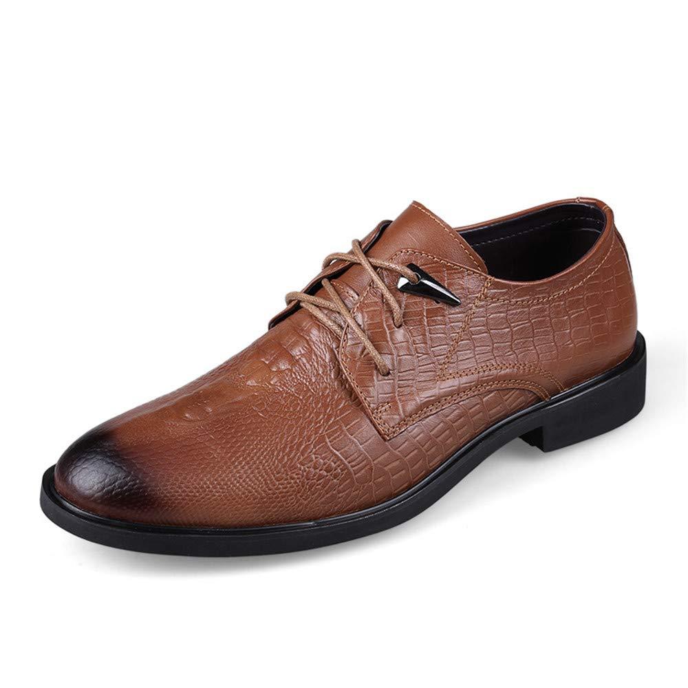 Ruiyue Einfache Klassische beiläufige Krokodil-runde Hauptbindungs-Formale Geschäfts-Oxford-Schuhe für Herren (Farbe   Light braun, Größe   45 EU)