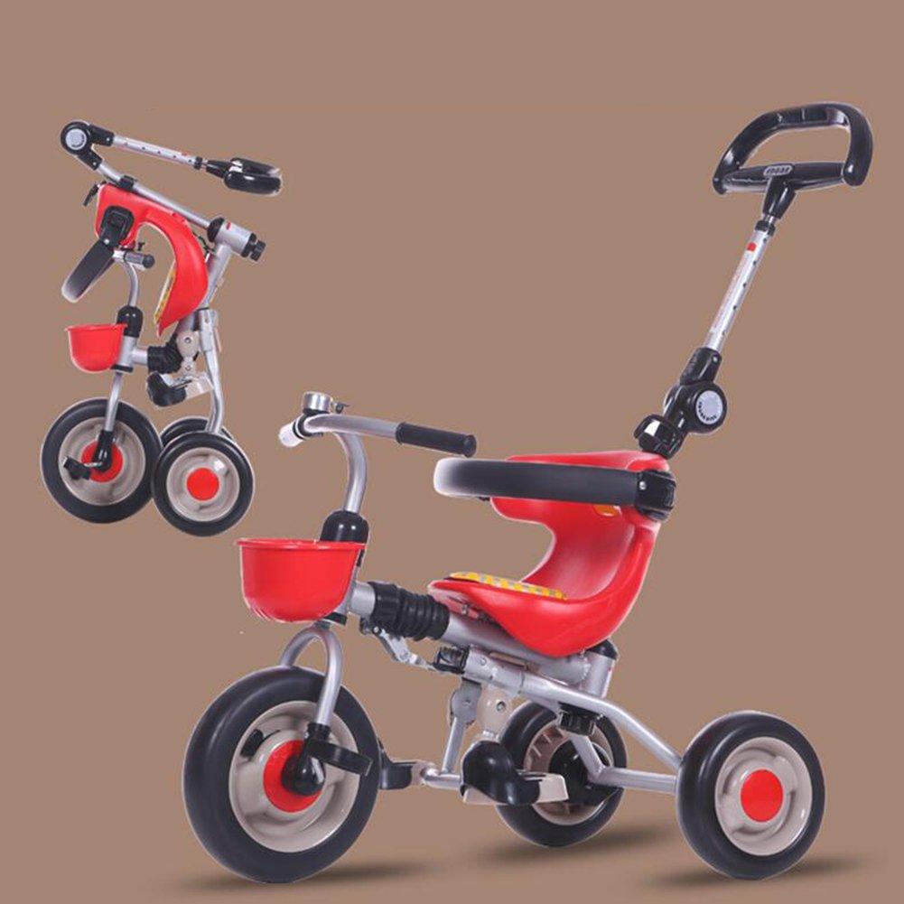 XQ 折りたたみ可能 軽量 耐衝撃性 子供 1-3歳 トロリー ベビーキャリッジ 子ども用自転車 ( 色 : 赤 ) B07C6Q8SVD 赤 赤