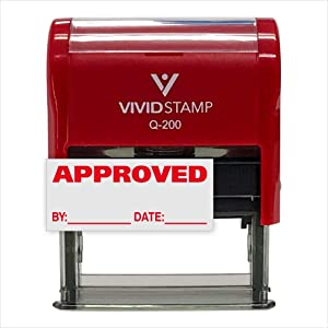Approved w/by Date Line Self-Inking Office Rubber Stamp (Red) - Medium