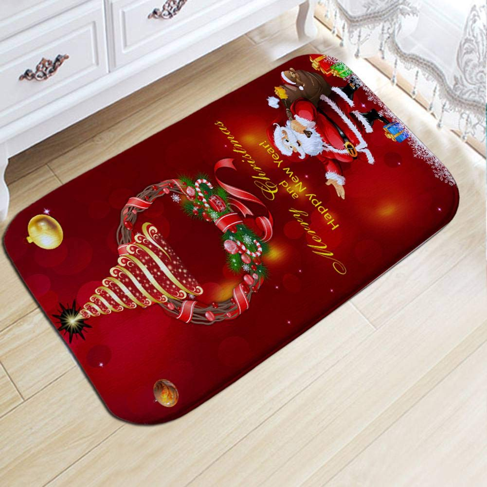 Christmas Bath Mats and Rugs, Santa Claus and Elk 3D Printed Non-Slip Bathroom Rugs Home Decor Bornbayb