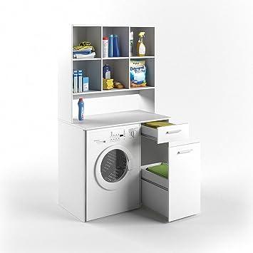 Erstaunlich VICCO Waschmaschinenschrank Kombination Weiß 185 X 103 X 60 Cm   Badregal  Hochschrank Waschmaschine Bad Schrank