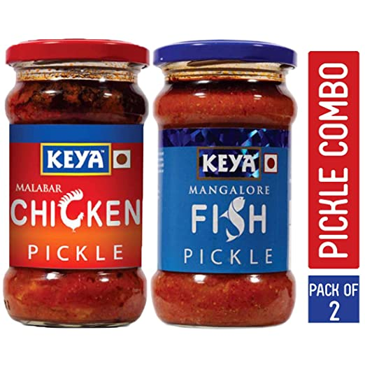 KEYA Malabar Chicken Pickle (270 g) and Mangalore Fish Pickles -270 g Combo