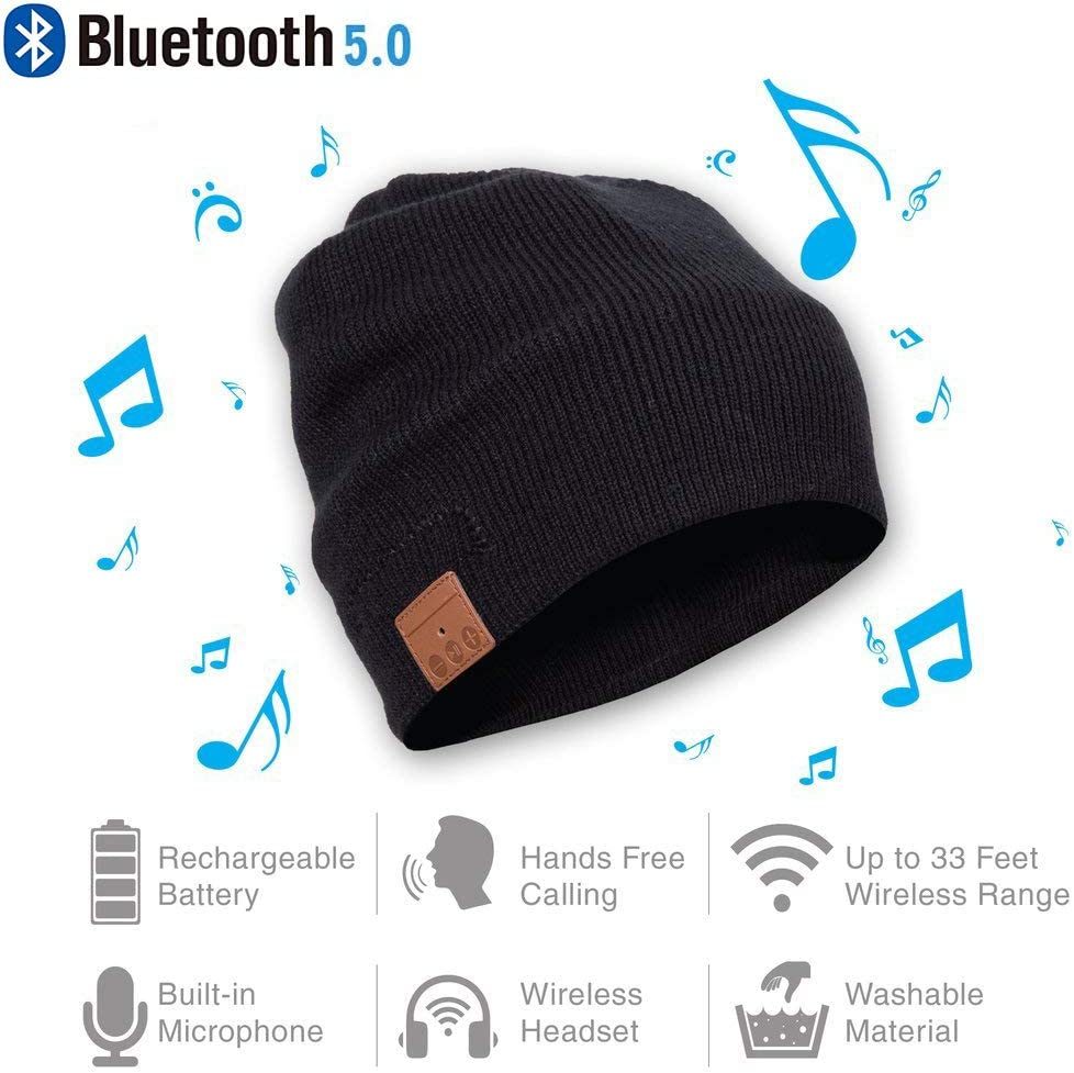 Bluetooth Beanie Hat Winter Warm Soft Knit Hat Cap with Wireless Headphone Headset Stereo Speaker Mic Hands-Free Android Cell Phones for Women Men
