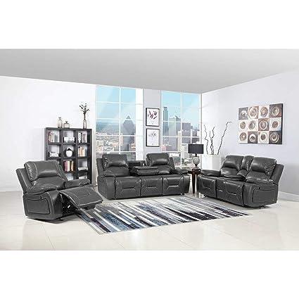 Incredible Amazon Com Blackjack Furniture 9422 Gray Sofa Set Leather Andrewgaddart Wooden Chair Designs For Living Room Andrewgaddartcom
