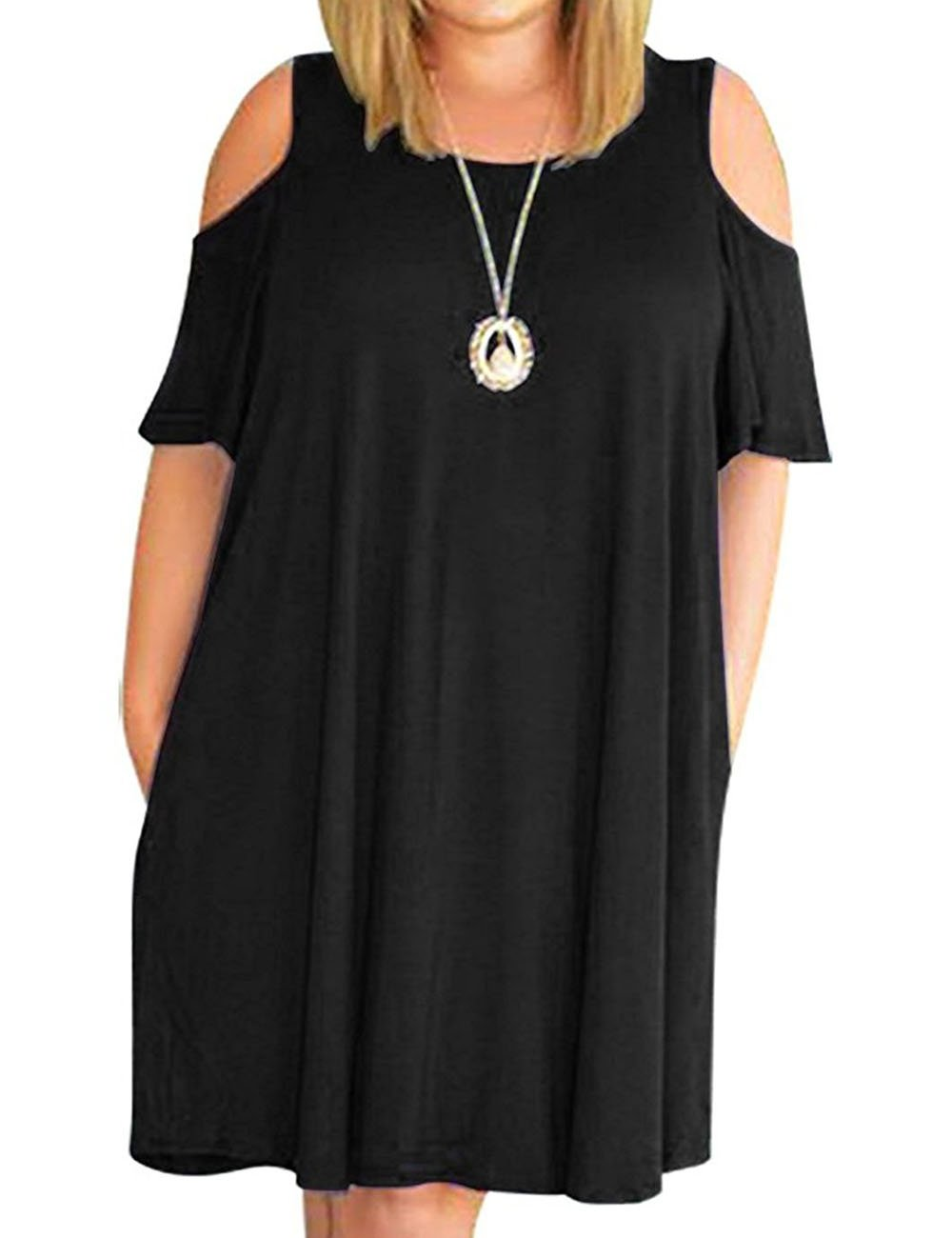 Kancystore Women's Plus Size Dress Summer Casual T-Shirt Cold Shoulder  Dress Black 5X