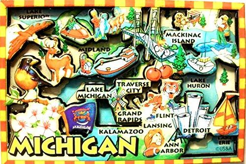 Michigan Cartoon Map Fridge Magnet