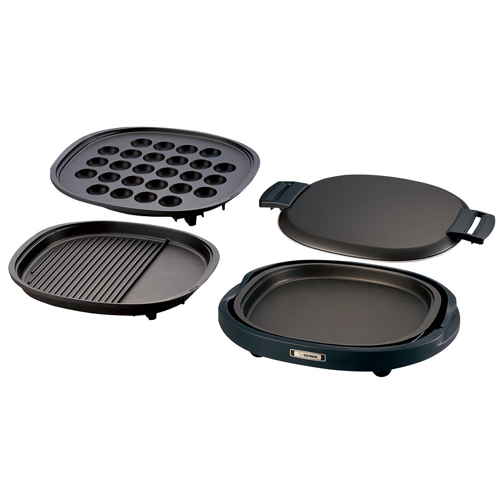 ZOJIRUSHI Three plates (grooved grilled meat plate and large octopus plate and flat plate) EA-BQ30-TD
