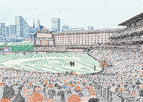 Baltimore Orioles Camden Yards Word Art - Handwritten with Every Oriole in History - 16x20 - Orioles Poster - Baltimore Decor - Yards Baltimore Orioles Camden