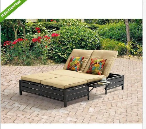 (Double Chaise Lounger-You can relax outdoors in your patio, garden or backyard on your double chaise lounger. Enjoy the comfort in the adjustable positions available. Unwind on its sturdy steel)