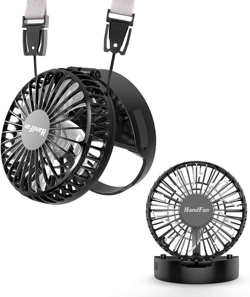 HandFan Ventilador de Mano Mini Ventilador portátil de Mano con Interruptor magnético Batería Recargable/Diseño de Manos Libres/Modo de 3 velocidades para Viajes en casa