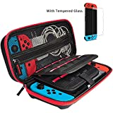 Nintendo Switch Case and Tempered Glass Screen Protector - Deluxe Hard Shell Travel Carrying Case, Hard Pouch Case for Nintendo Switch Console & Accessories by Hestia Goods, Streak Red