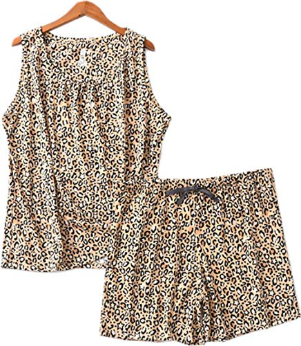 - Luckytung Women's Sleeveless Print Tee Cotton Sleepwear Short Sets Tank Top Pajama Set DYDK01-Leopard-M
