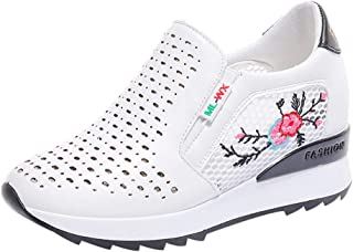 zycShang Chaussures Femmes Baskets Mode Mixte Adulte Maille Augmentation de la Hauteur Interne Broderie Casual Respirantes AthléTique Jogging Trainers Round Shoes Semelles Conforts
