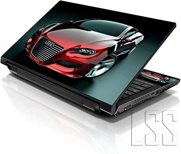 "LSS Laptop 15 15.6 Skin Cover with Colorful Red Audi Car Pattern for HP Dell Lenovo Apple Asus Acer Compaq - Fits 13.3"" 14"" 15.6"" 16"" (2 Wrist Pads Free)"