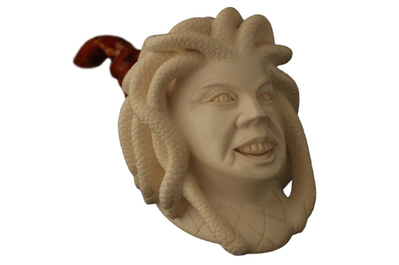 Meerschaum Pipe - Medusa from Master Carver I. Baglan - Tobacco Smoking Pipe Hand Made from the Finest Block Meerschaum - New