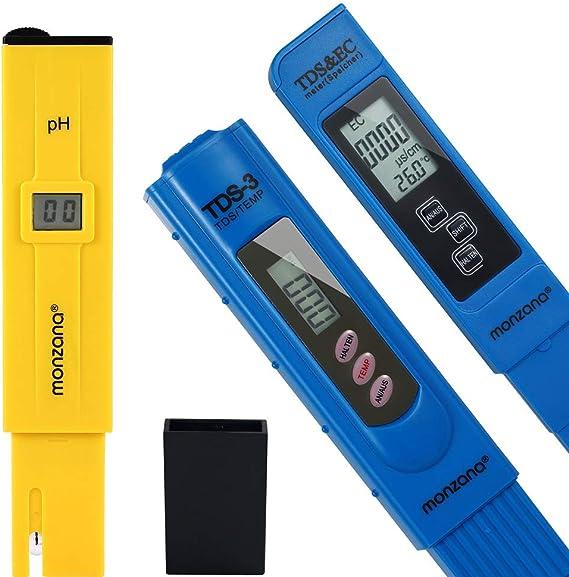 Monzana Wassertester 3in1 Set Messgerät Für Ph Tds Ec Und Temperatur Pool Tester Digital Wasserprüfer Garten