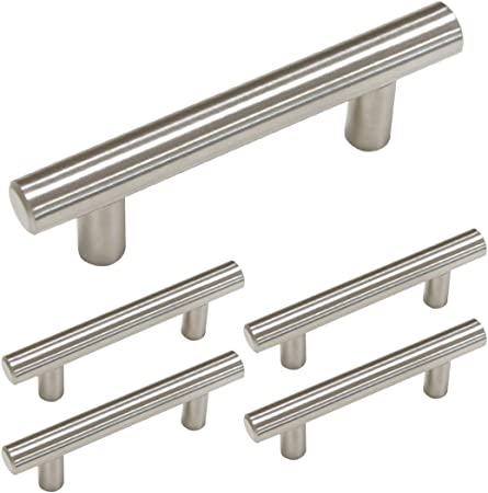 homdiy Kitchen Cabinet Handles Brushed Nickel 5 Pack 2 12in Hole Center Modern Cabinet Pulls HD201SN T Bar Drawer Pulls Brushed Nickel Cabinet