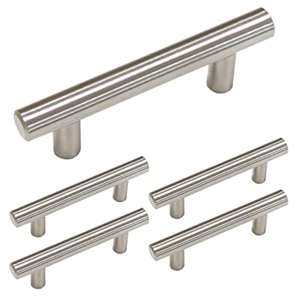 Homdiy Kitchen Cabinet Handles Brushed Nickel 5 Pack 2 1 2in Hole Center Modern Cabinet Pulls Hd201sn T Bar Drawer Pulls Brushed Nickel Cabinet