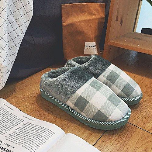 Männer und Frauen Baumwolle Hausschuhe Herbst und Winter Liebhaber Taschen mit Baumwolle Drag Hause Warmen Warmen Rutschigen Monat Schuhe,E,44-45