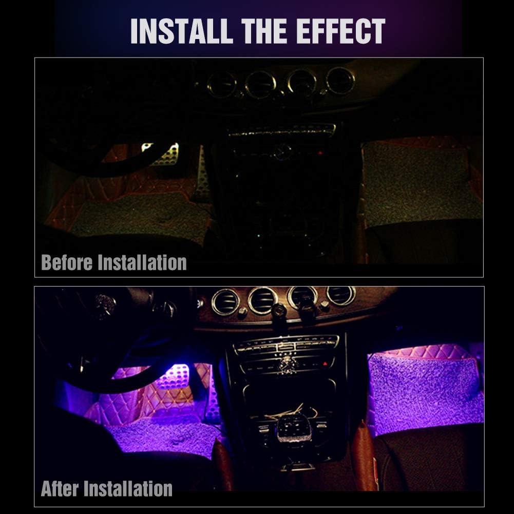 Car Strip Light Nanpoku Interior Car Lights Music Car Strip Light Under Dash Lighting Kit,1 Year Warranty Upgrade Two Power Supply Options 48 LED 8 Colors Remote Control with Sound Sensor