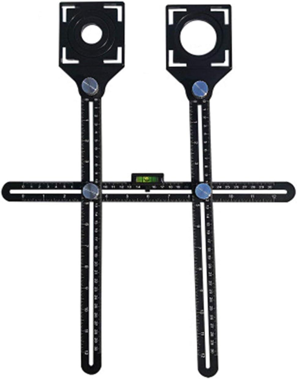 Regla plegable de doble cabeza Localizador de orificios para baldosas Herramienta de mano perforada fija de vidrio de mampostería universal ajustable - Negro