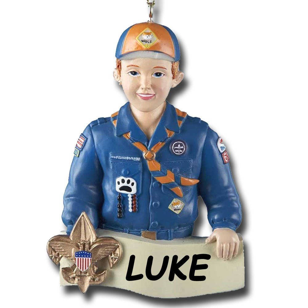 Personalized Boy Scouts of America Tiger Scout in Uniform Christmas Ornament with Name