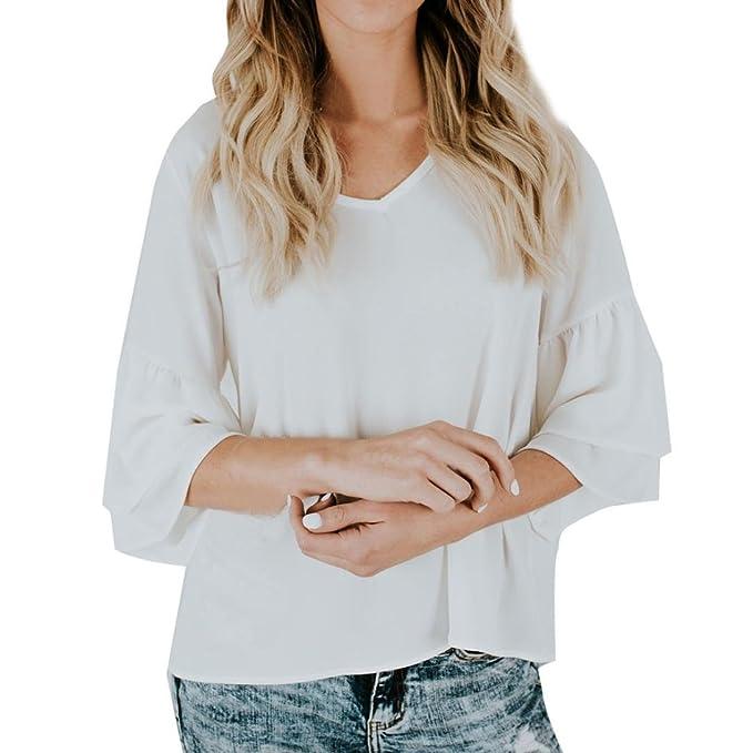 FEITONG Camiseta de chifón de mujer Tops de moda Blusa (Blanco, L)