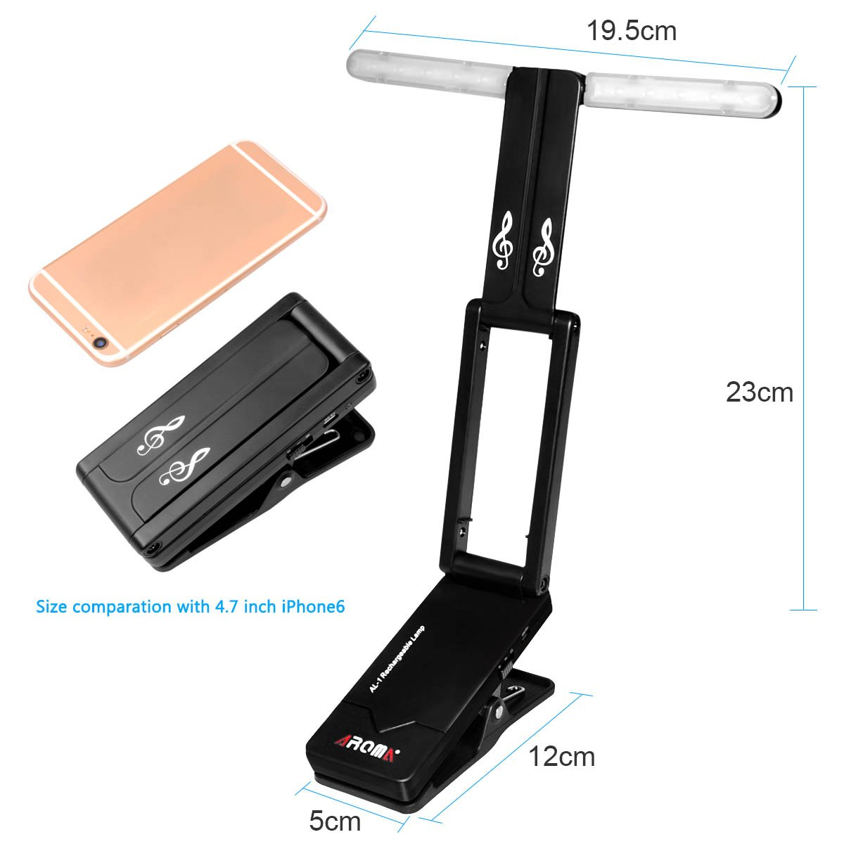 by LC Prime Clip On Battery Rechargeable Folding for Guitar Piano Musical Instruments plastic Music Stand LED Light