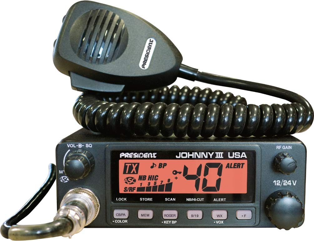 President Johnny III USA 40 Channel CB Radio 12 or 24V, Black by President Electronics