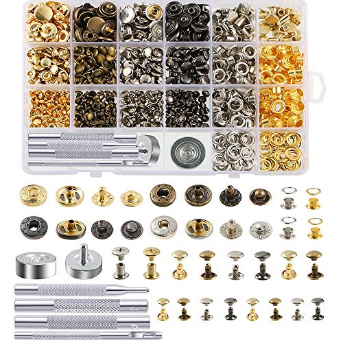 Caydo 400 Set 4 Style Snap Fasteners Kit Including Leather Rivets, Eyelets, Grommets, Chicago Binding Screws, Snap Buttons Press Studs kit with Fixing Tools for Thin Leather, Jacket, Jeans Wear
