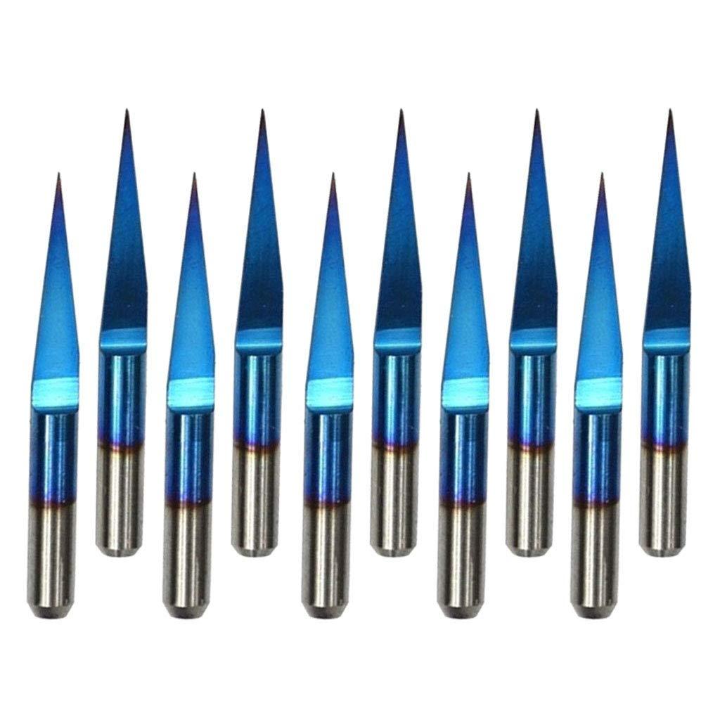 25 degr/és 0.2mm H HILABEE 10pcs Fraise en Bout Foret CNC Outil de Coupe Foret Tige Droite Fraise pour Sculpture Gravure 3.175mm